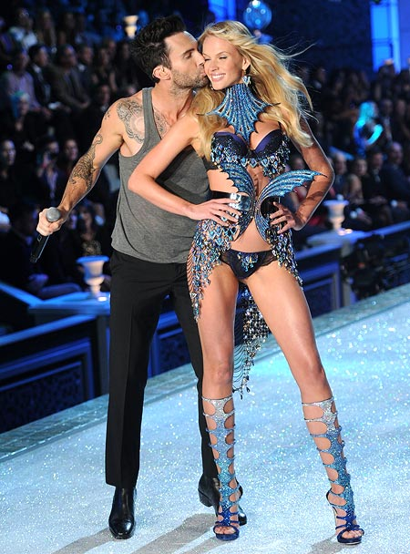 Adam Levine of Maroon 5 and Anne Vyalitsina at the Victoria's Secret fashion show