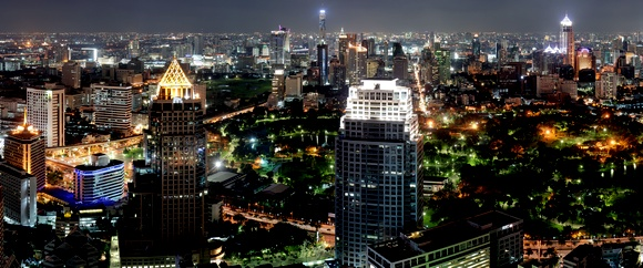 Bangkok at night, seen from the top of the Banyan Tree Hotel.