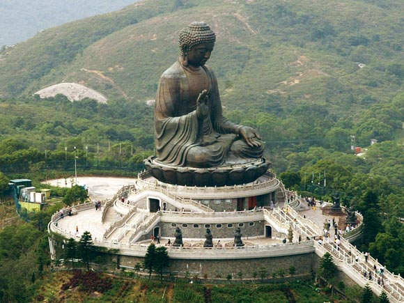 An aerial view of the revered 250-tonne, 26-meter tall bronze Buddha statue at the Po Lin Monastery on Hong Kong's Lantau island