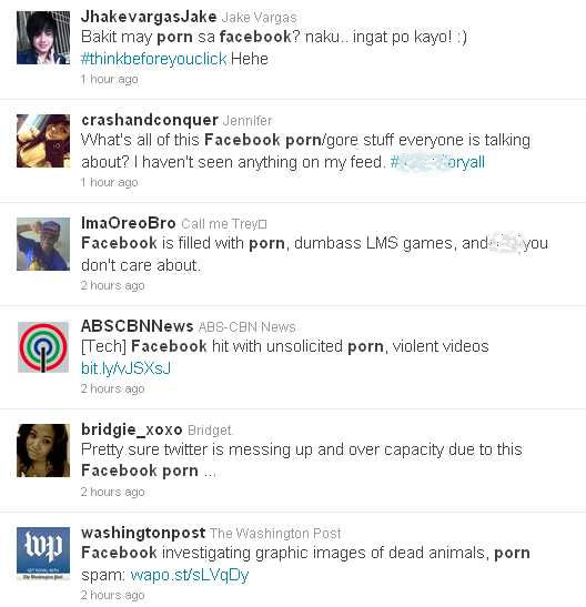 Twitter search results with readers' timelines saying Facebook accounts hacked