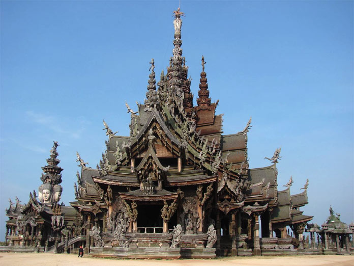 The Sanctuary of Truth was constructed to withstand the wind and sunshine on the seashore at Rachvate Cape, Tumbon Naklea, Amphur Banglamung, Chon Buri Province.