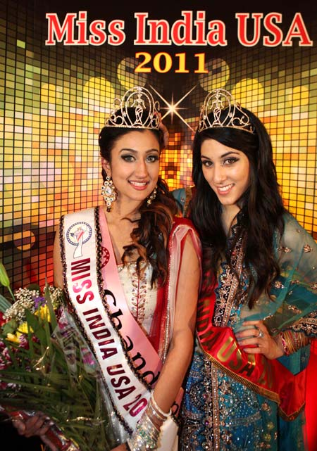 Miss India USA 2010 Natasha Arora (right) crowned Chandan the winner