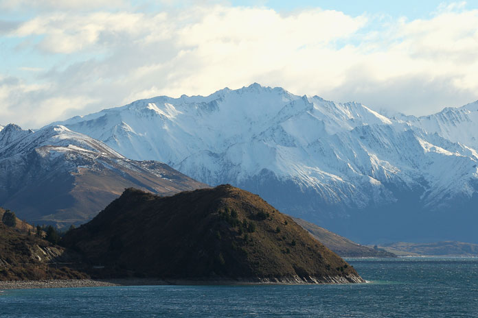 A view of Lake Hawea in Wanaka, New Zealand.