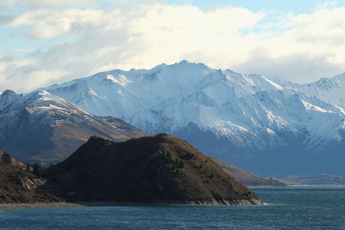 A view of Lake Hawea in Wanaka, New Zealand.