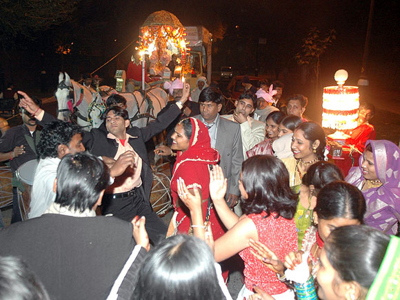 A wedding procession in Central Delhi on a Sunday night