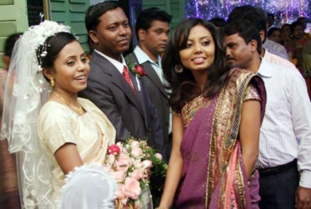 Usha Lakra Aind with her husband on her wedding day