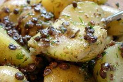 Black lentils and potato salad