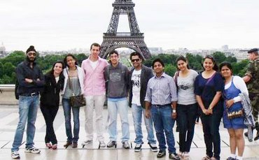 Shubhi and Prateek with other contestants in Paris