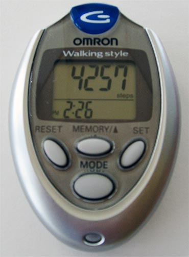 The pedometer helps you keep count of how much you've walked
