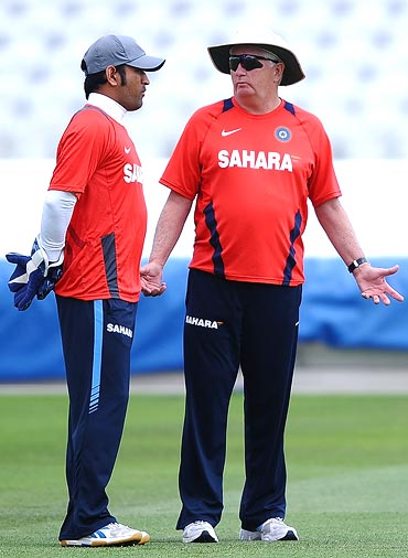 Mahendra Singh Dhoni of India talks with Duncan Fletcher during Net Practice ahead of the second Test match at Trent Bridge on July 28, 2011 in Nottingham, England.