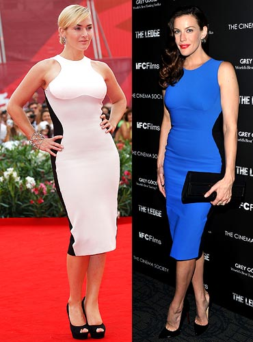 Kate Winslet and (right) Liv Tyler in Stella McCartney's Bicolour Octavia dress