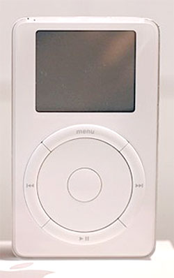 First model iPod, with mechanical scroll wheel. 10 GB model released later