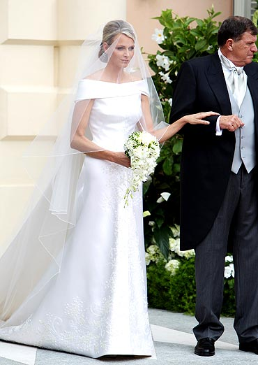 Princess Charlene of Monaco attends her religious ceremony of the Royal Wedding to husband Prince Albert II of Monaco in the main courtyard at the Prince's Palace on July 2, 2011