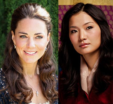 Catherine, Duchess of Cambridge and (right) Queen Jetsun Pema of Bhutan