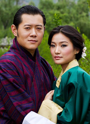 Bhutan's King Jigme Khesar Namgyel Wangchuck (L) and his fiancee Jetsun Pema pose in Bhutan in this undated handout released May 20, 2011