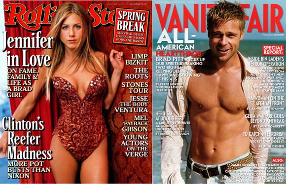 Jennifer Aniston and (right) Brad Pitt