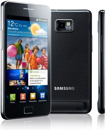 Samsung Galaxy S II comes with standard charger, USB data cable, Samsung headphones