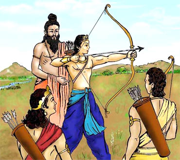 Dronacharya teaching archery to his students
