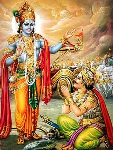 Lord Krishna advising Arjun during the War of Kurukshetra