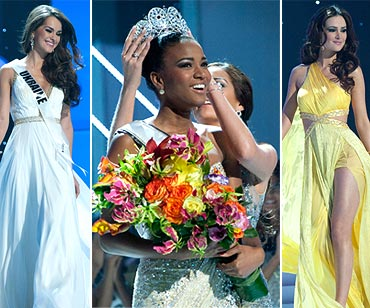 Miss Angola Leila Lopes, now Miss Universe 2011 (centre); first runner-up Miss Ukraine Olesya Stefanko (right); second runner-up Miss Brazil Priscila Machado