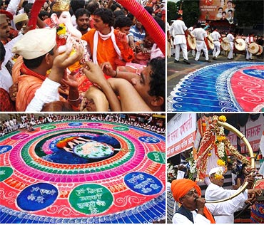 A collage of the colourful farewell to Kasba Ganpati
