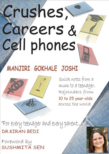 Book cover of Crushes, Careers and Cellphones' and (inset) Manjiri Gokhale