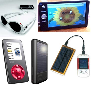 A collage of gadgets powered by solar energy