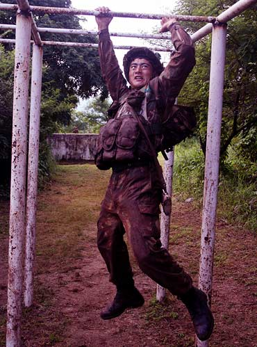 A cadet on the obstacle course at Camp Rover