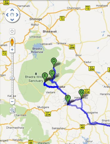 Road map to Chikmagalur