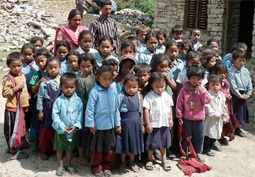 School children from a village in Nepal