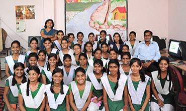 Students from Chetram Sharma Kanya Interschool in Sadarpur Gaon, Noida