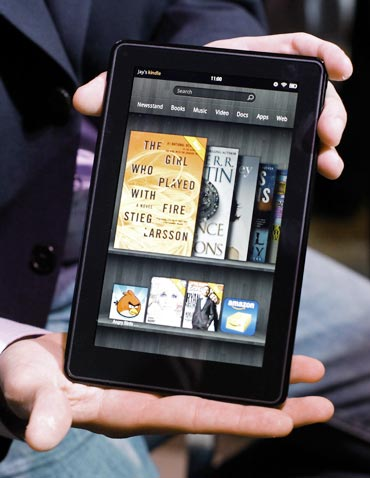 The new Kindle Fire is seen at a news conference during the launch of Amazon's new tablets in New York, September 28, 2011.
