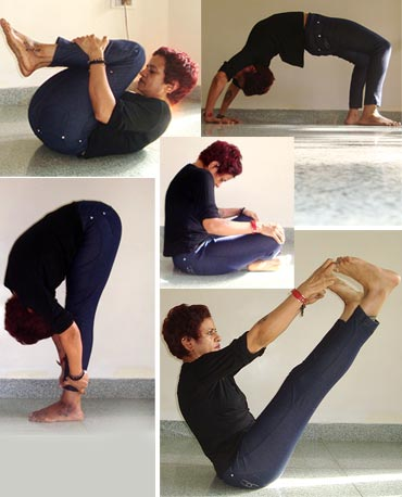 A collage of yoga poses to fight obesity