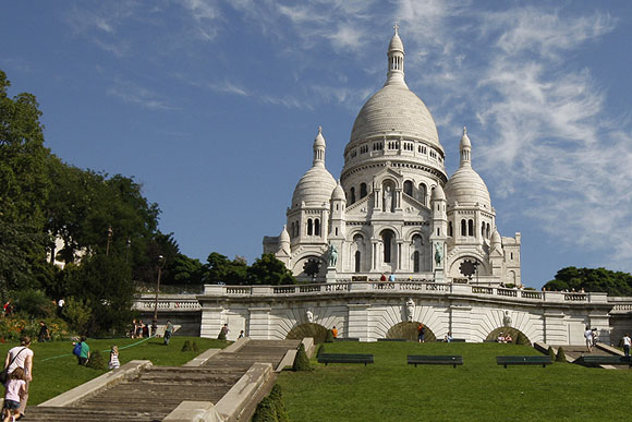 The Sacre Coeur Basilica, one of Paris's tourist attractions, on Montmartre in Paris