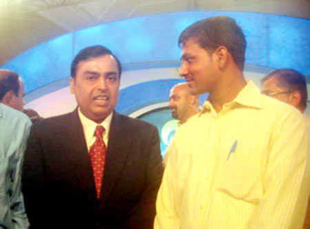 Seen here at the CNN-IBN show where he recounts his tale with Mukesh Ambani, Chairman, Reliance Industries