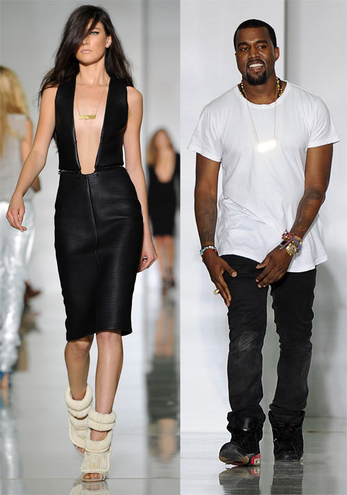 A model in a Dw by Kanye West creation and (right) Kanye West