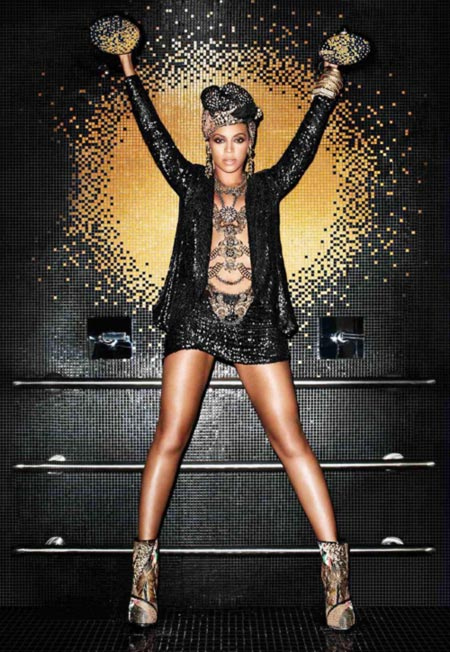 Beyonce wears a design from House of Dereon