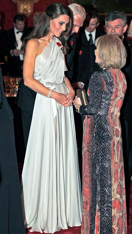Catherine, Duchess of Cambridge (L) talks to people at a reception in aid of the National Memorial Arboretum Appeal at St James's Palace on November 10, 2011 in London, England