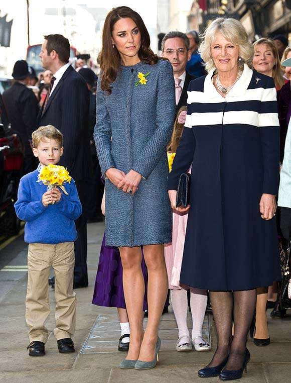 Catherine, Duchess of Cambridge and Camilla, Duchess of Cornwall depart after visiting the Fortnum And Mason Store on March 1, 2012 in London, England
