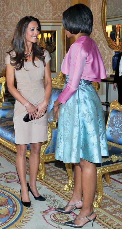 Catherine, Duchess of Cambridge in conversation with First Lady Michelle Obama at Buckingham Palace on May 24, 2011 in London, England