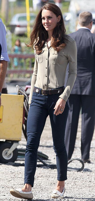Catherine, Duchess of Cambridge arrives to board a seaplane bound for Blachford Lake at the Old Town Float Base on July 5, 2011 in Yellowknife, Canada