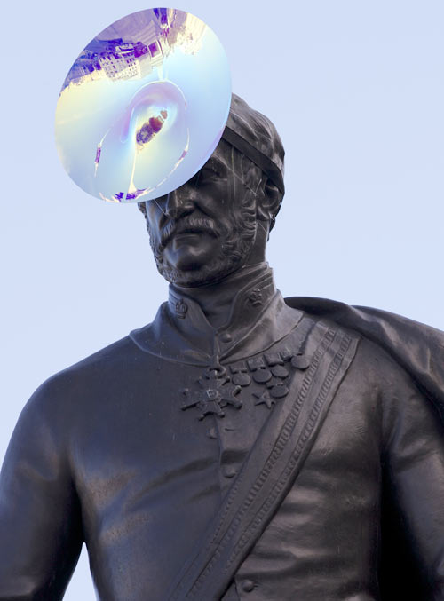 The statue of Sir Henry Havelock in Trafalgar Square wearing a hat by Philip Treacy