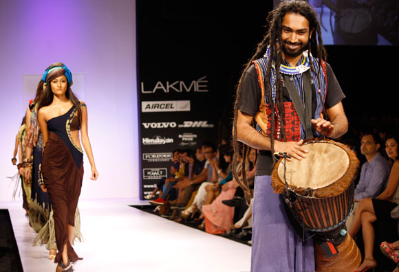 A percussionist on the ramp at the Babita M showing