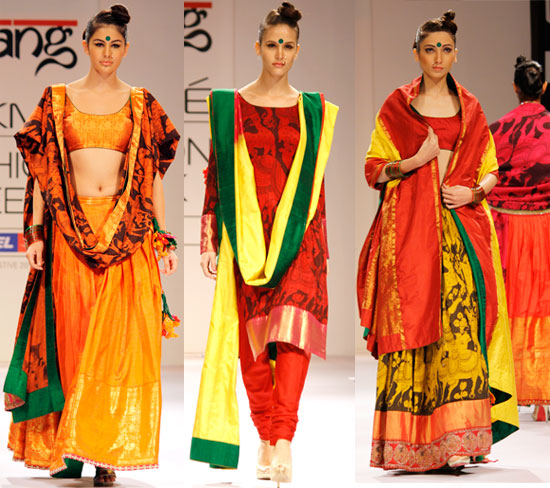 The designer offers a varied palette and Indian silhouettes, ranging from churidaar-kurtas to ghagras.