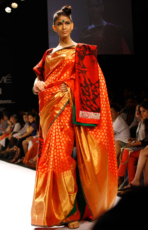 Geometric patterns come to the fore with this ensemble, although Gaurang's animal theme also features alongside.