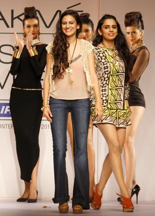Sisters Kaabia and Sasha Grewal take to the ramp to mark the close of the Outhouse showing.
