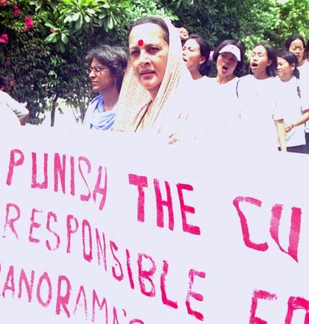 Brinda Karat during a protest in New Delhi