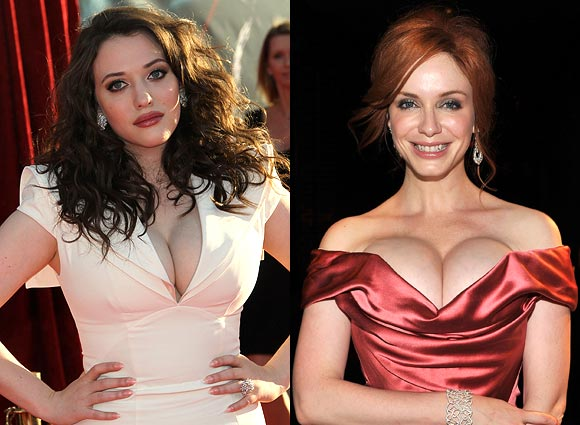 Kat Dennings and (right) Christina Hendricks