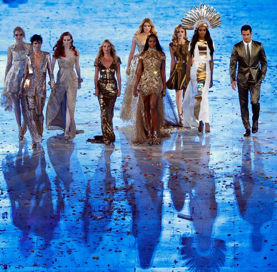 (L-R) Lily Cole, Stella Tennant, Karen Elson, Kate Moss, Lily Donaldson, Naomi Campbell, Georgia May Jagger, Jourdan Dunn and David Gandy