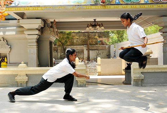 N Nagabhavani and N Lakshmi Soujanya spar during a training session